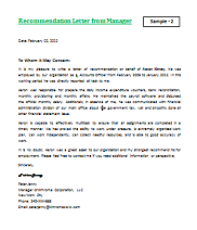 Letter of Recommendation for Employment LetterFormatsnet