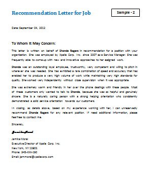 letter for job recommendation